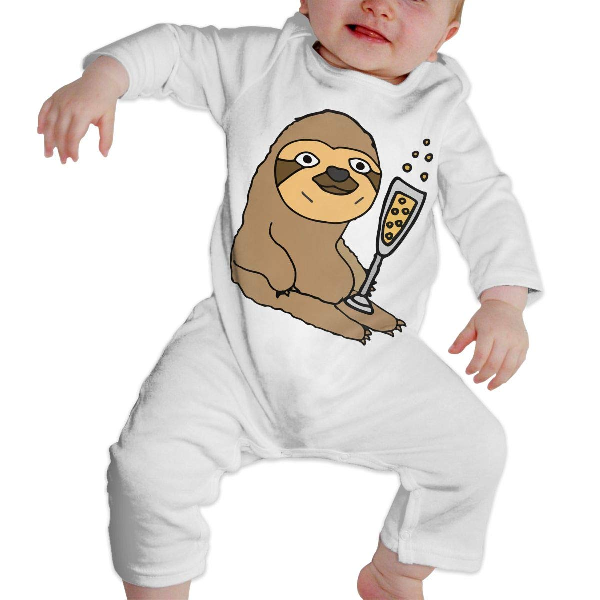 Mri-le1 Baby Girl Long Sleeve Jumpsuit Sloth Drinking Champagne Toddler Jumpsuit