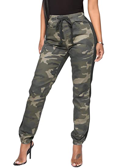 Lynwitkui Womens Casual Stretch Drawstring Skinny Cargo Jogger Pants High Waist Tie Camouflage Pant with Pockets