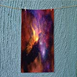 quick dry towel large Stars and Nebula Gas and Dust Cloud Celestial Solar Galacy System Print Red Orange Fluffy, and Absorbent, Premium Quality W11.8 x H27.5 INCH