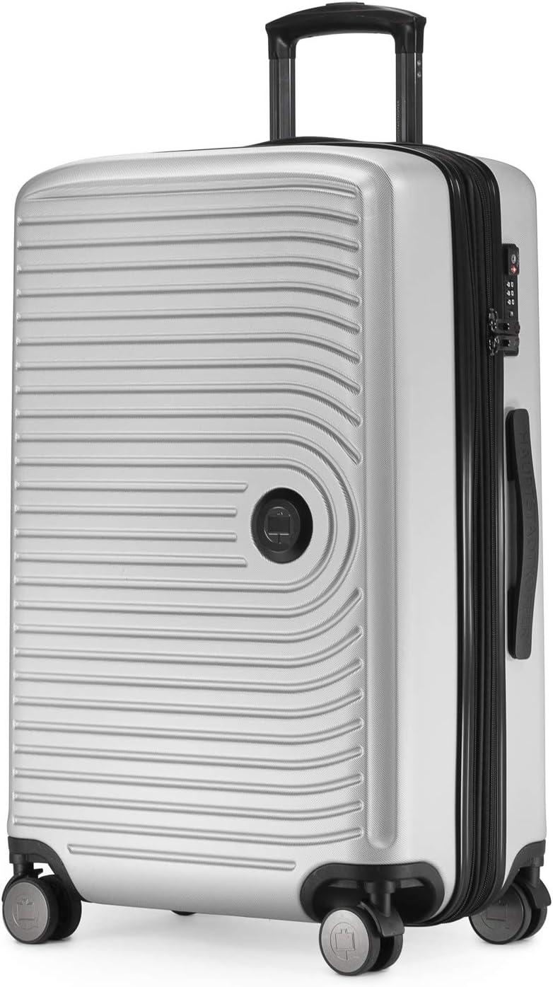 HAUPTSTADTKOFFER - Mitte – Trolley rígido de tamaño medio, equipaje facturado con extensión de volumen de 8 cm, TSA, 4 ruedas dobles engomado, 68 cm, 88 L, Blanco