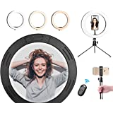 """LED Ring Light 10.2"""" with Adjustable Tripod Stand & Shutter Remote, Desk Makeup Selfie Ringlight Phone Holder with 3 Light Mo"""