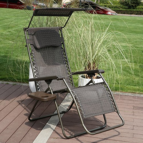Abba Patio Zero Gravity Lounge Chair 2 Pack Oversized Adjustable Folding  Recliner With Sunshade And Drink Tray