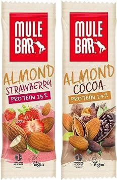 Mulebar – Barras proteínas veganas – 100% naturales – Caja mixta de 7 barras sabor almendra fresa y 8 barras sabor almendra chocolate
