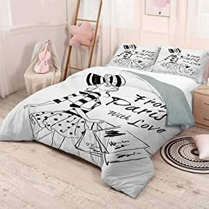 HELLOLEON Paris Pure Bedding Hotel Luxury Bed Linen from Paris with Love Fashion Hand Drawn Girl Figure Shopping Polka Dot Design Skirt Polyester - Soft and Breathable (Queen) Black White