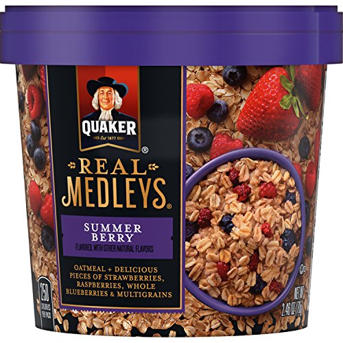 Quaker Real Medleys Oatmeal+, Summer Berry, Instant Oatmeal+ Breakfast Cereal (12 Cups) (Packaging May Vary)