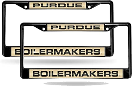 NCAA Purdue Boilermakers Laser Cut Inlaid Standard Chrome License Plate Frame