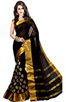 B4Best Creation Cotton Silk Saree (Sd_Goli-Black_Black)
