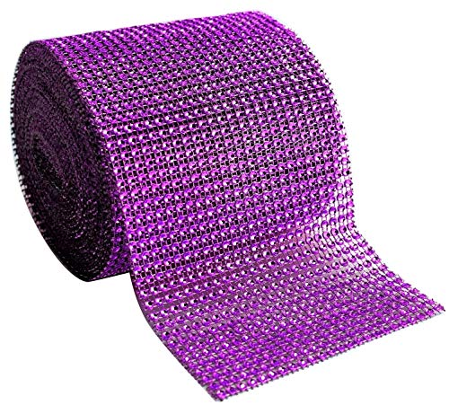 Blackbag Diamond Rhinestone Mesh Ribbon Supreme Quality Sparkling Bling Wrap Ribbon Bulk DIY Roll for Arts Crafts Party Decorations, 4.75 x 10 Yards, 24 Row, 1 Roll (Dark Purple, 4.75 x 10 Yards)