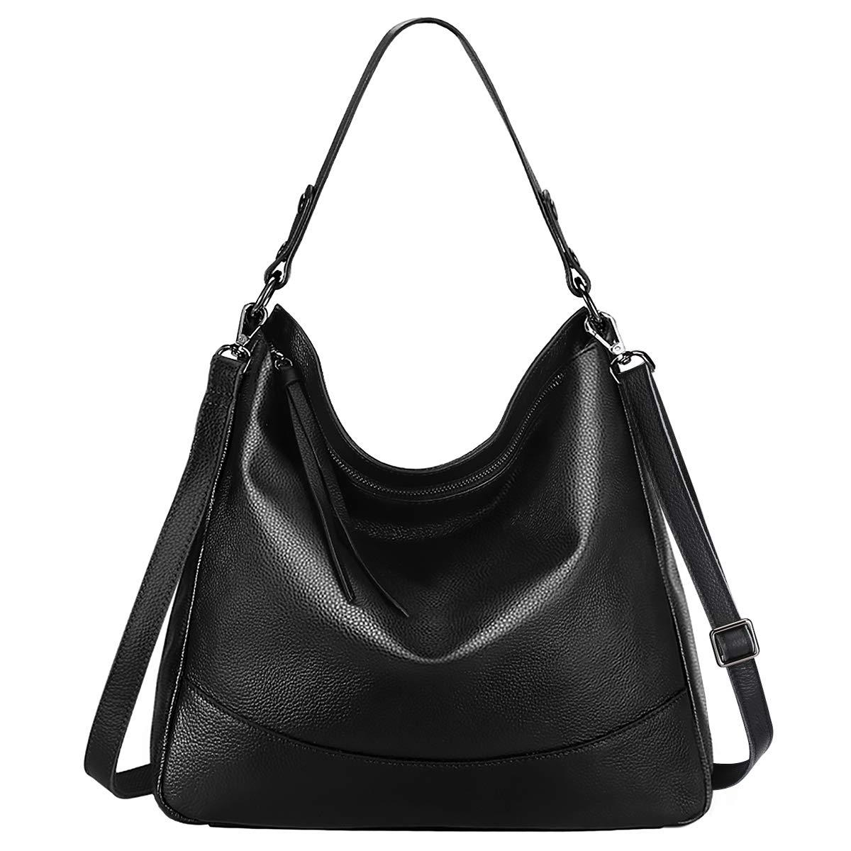 S-ZONE Women's Genuine Leather Handbag Hobo Bag Large Tote Shoulder Bag Crossbody Bag (Black)
