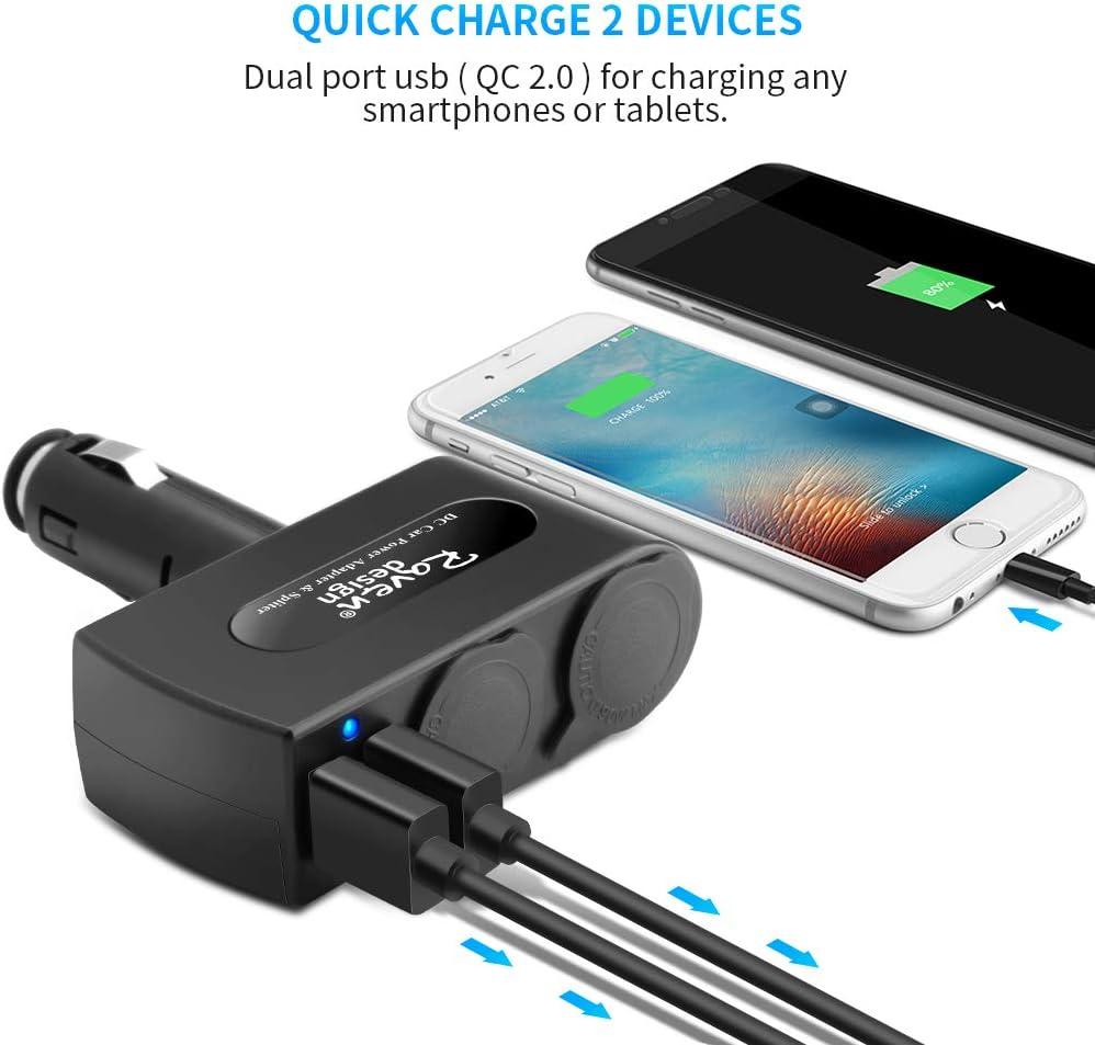 caricabatteria da Auto Due Porte USB 2.4A,12-24V caricabatteria da Auto per GPS Tablet Smartphone,Samsung,iPhone,iPad Roven design 2 Prese Accendisigari