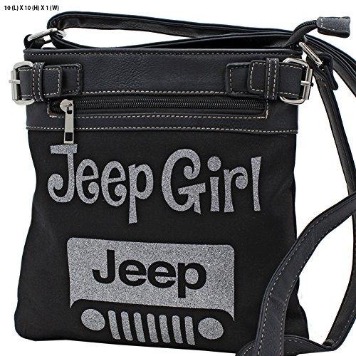 Jeep Girl Glittering Concealed Carry Gun Cross Body Messenger Bag Purse Black Silver