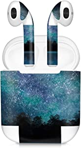 kwmobile Set of Stickers Compatible with Apple AirPods (1. Generation) - 7X Earphones Sticker Adhesive Decal Skin - Cosmic Forest Blue/Black