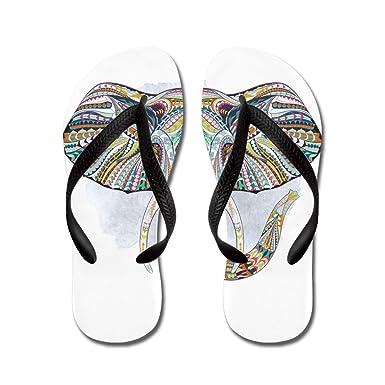 070a365bf3d0d Royal Lion Women s Patterned Elephant Black Rubber Flip Flops Sandals 4-5.5