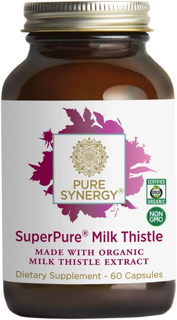 Pure Synergy USDA Organic SuperPure Milk Thistle Extract 60 Capsules w Silymarin for Healthy Liver Function