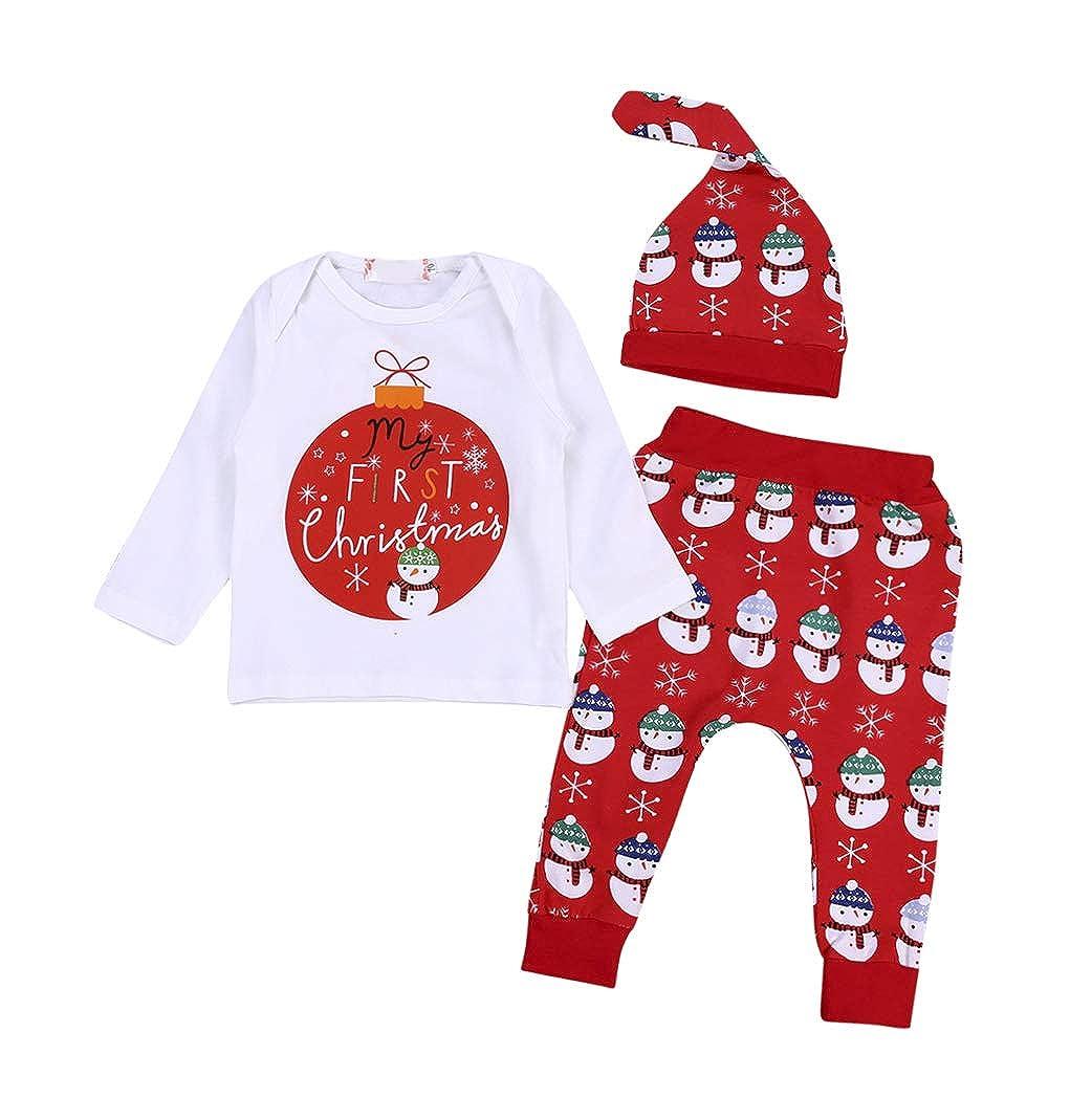 3 St/ück Neugeborenes S/äugling Baby Junge M/ädchen My First Christmas Lange /Ärmel T-Shirt Tops Schneemann Hosen Hut Set