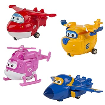Super Wings - Lote 4 Personajes: Jet, Dizzy, Jerome y Donnie