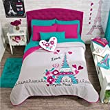 Paris Chic EIFFEL TOWER French,Teen Girls Comforter Set,Embroidered Sheet Set and Window Panels Full/Queen