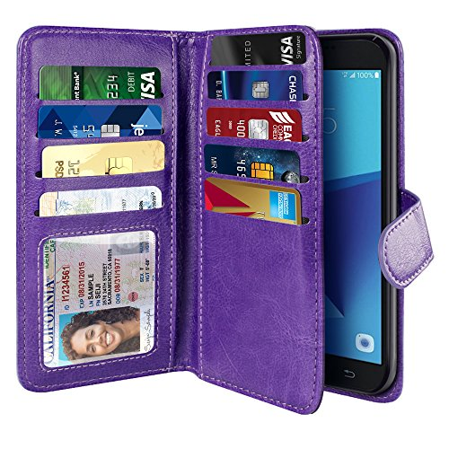 NEXTKIN Case Compatible with Samsung Galaxy J7 2017/ J7V J727 Sky Pro Perx, Leather Dual Wallet TPU Cover, 2 Pockets Double flap, Multi Card Slots Snap Button Strap For Galaxy J7 2017 Sky Pro - Purple
