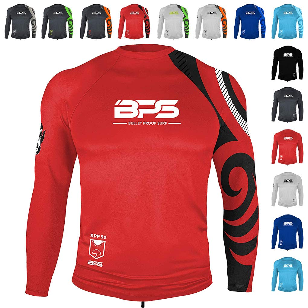 BPS Men's Long Sleeve Quick Dry Rash Guard with UPF 50+ - Red, S by BPS