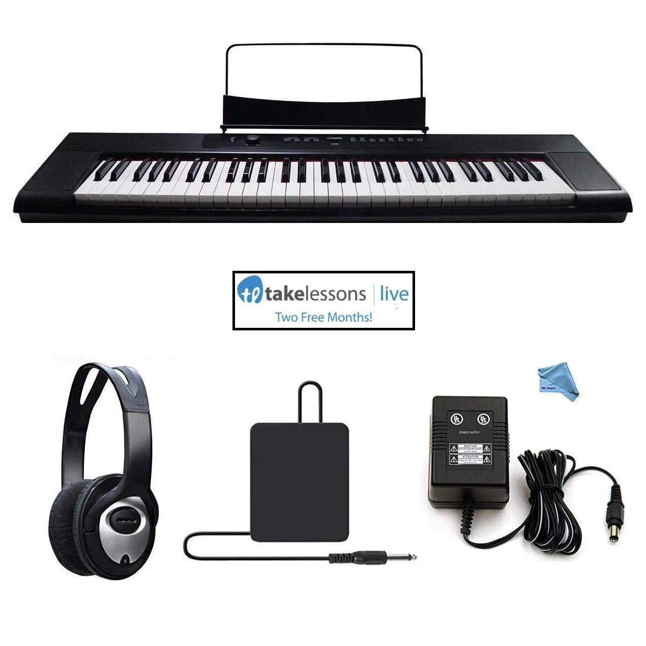 Artesia A-61 61 Key Semi-Weighted Action Keyboard Piano Bundle for Beginners and Students - 2 Months Piano Lessons - Stereo Headphone - Dust Cover - Sustain Pedal - Power Supply by Artesia