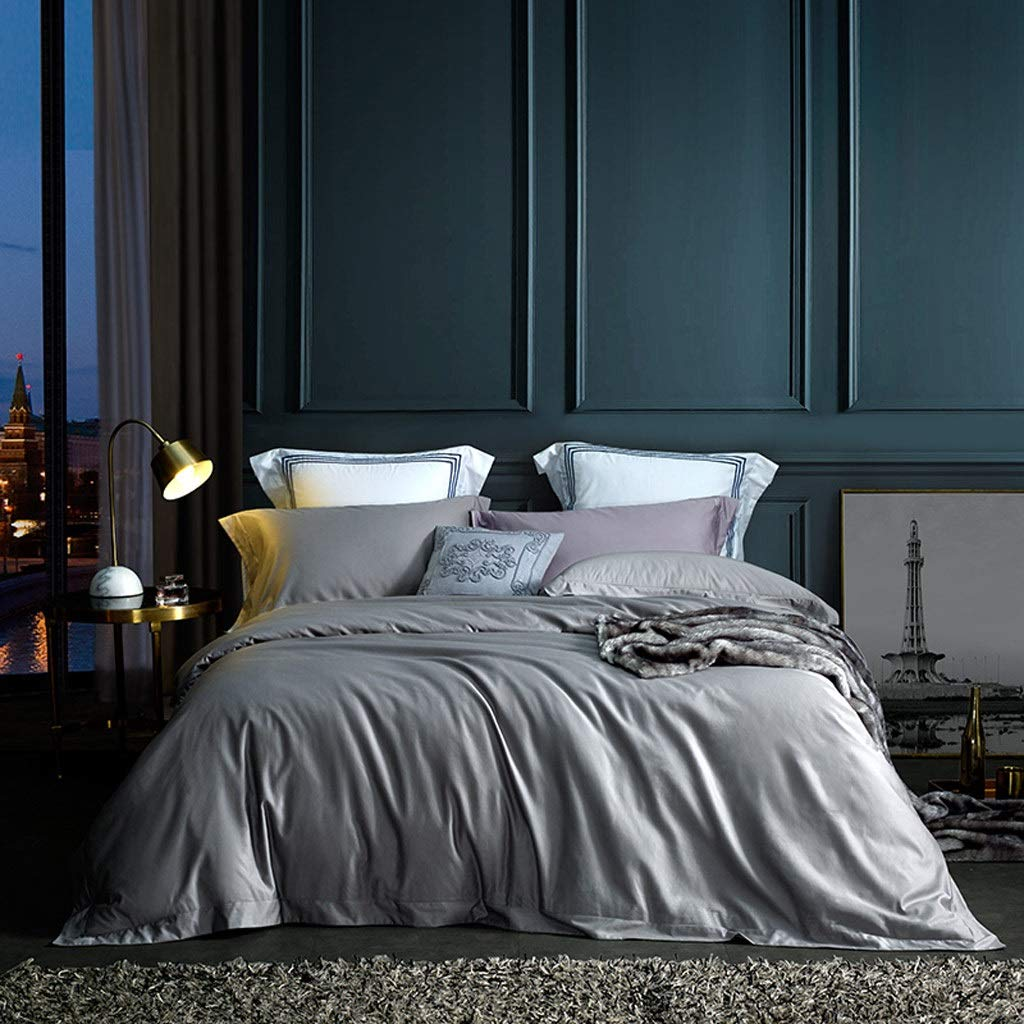 HFY 4ピース寝具シンプルな高級コットン生地ダブルベッド4ピースキルトカバーシートツーピース枕カバーブルーグレーグリーン (色 : グレイ ぐれい, サイズ さいず : 180cm) B07SD419ZR