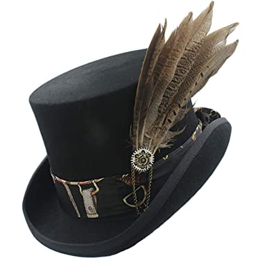 Top Hat Wool Steampunk Fedora Hat Handmade Leather Magic Cosplay Party  Cylinder Hat Caps Women Men 31eb73709da