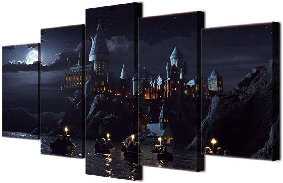 JSBVM 5 Paneles Impresiones en Lienzo Harry Potter School Castle Hogwarts Mural Ilustraciones Oficina Decoraciones para el hogar Pintura