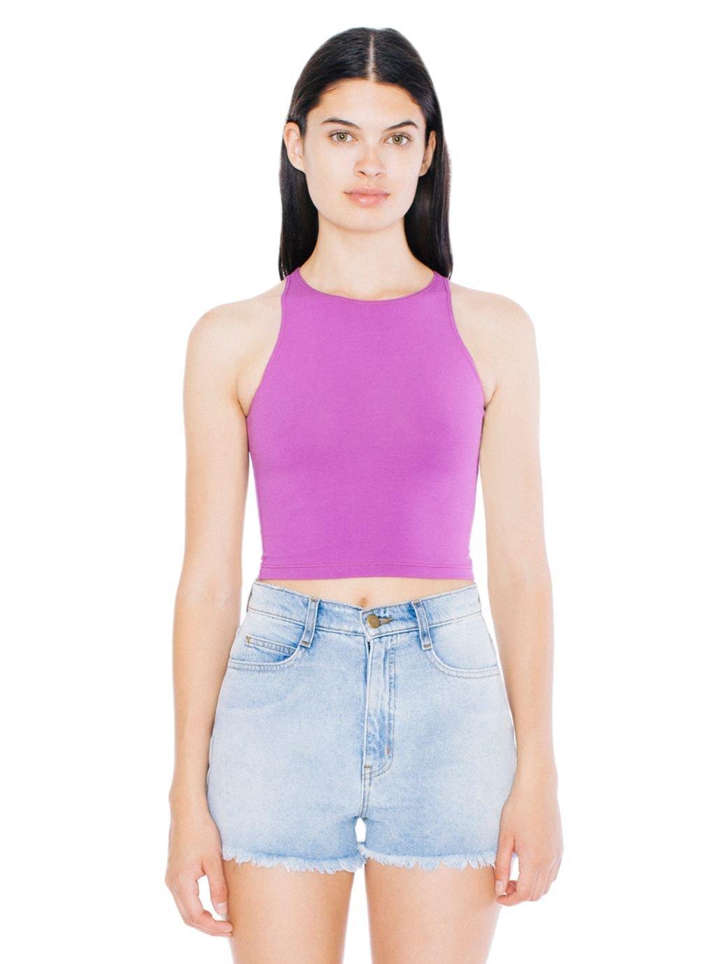 American Apparel Women's Cotton Spandex Sleeveless Crop Top Size L Boysenberry