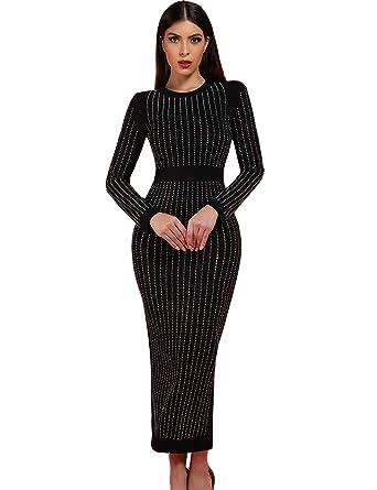 9640c2c31eb Beacher Zacharias Elegant Rhinestone Embellished Long Sleeves Slit Back Party  Club Bandage Dress XS