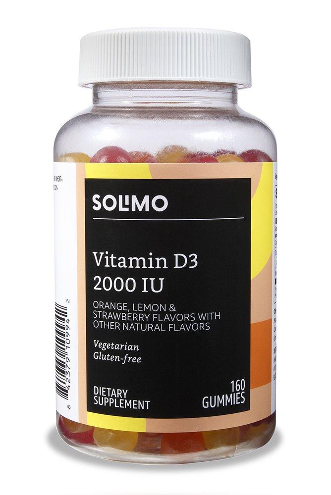 Amazon Brand - Solimo Vitamin D3 2000 IU, 160 Gummies, 80-Day Supply