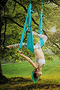 Aerial Yoga Swing Set - Yoga Hammock Swing - Trapeze Yoga Kit + Extension Straps & eBook - Wide Flying Yoga Inversion Tool - Antigravity Ceiling Hanging Yoga Sling - Women Men Kids Arial Acro