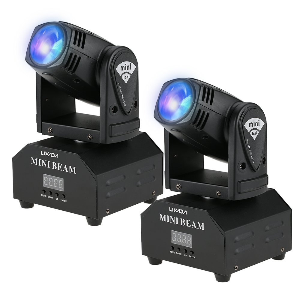 Lixada 2PCS LED Head Moving Light Total 50W Rotating Moving Head DMX512 Sound Activated Master-slave Auto Running 11/13 Channels RGBW Color Changing Beam Light for Disco KTV Club Party (2 PCS)