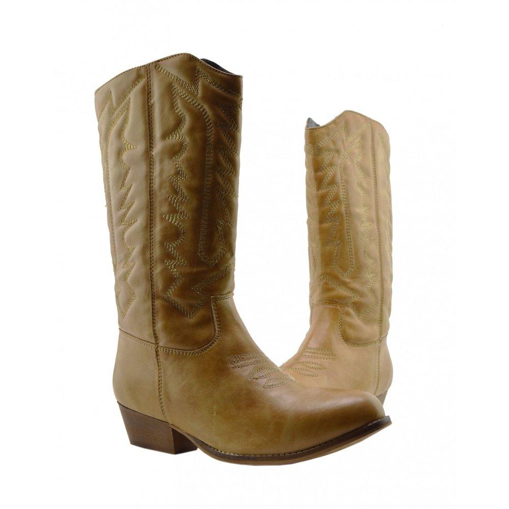 5b2a43cb18b16e Damen Frauen Mid-Calf-Block-Ferse Reiten Cowboy Biker Boots Zip Ups Schuhe   Amazon.de  Schuhe   Handtaschen