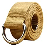 WUAI Canvas Belt Adjustable Belts No Buckle Tactical Breathable Military Waistband Belts(Khaki,One Size)