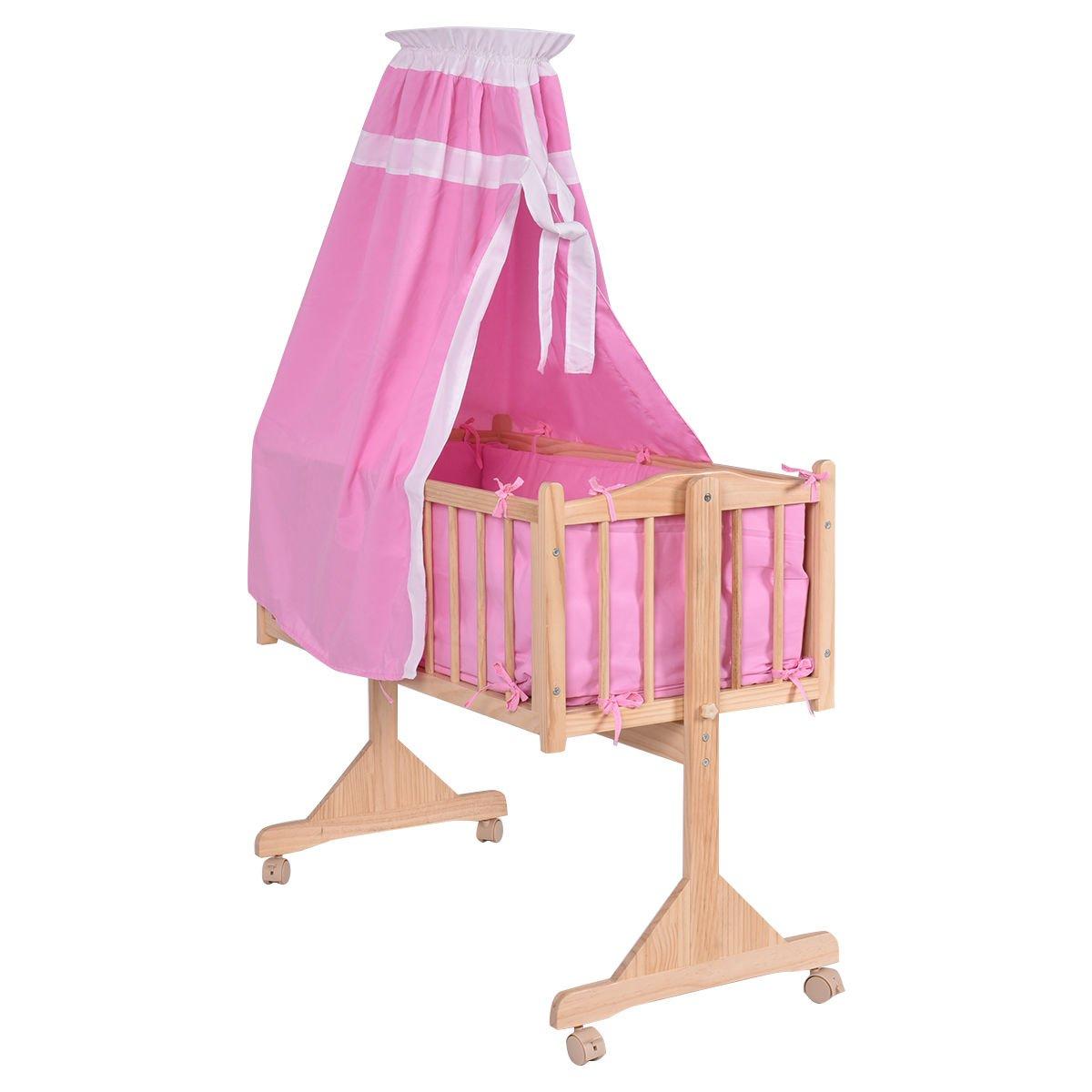 Costzon Wood Baby Cradle Rocking Crib Bassinet Bed Sleeper Portable Nursery (Pink)