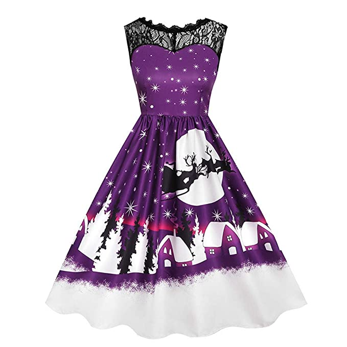 Womens Christmas Lace Patchwork Skirts Xmas Printed Sleeveless O-Neck Dresses Ladies Vintage A-Line Swing Dress at Amazon Womens Clothing store: