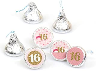 product image for Big Dot of Happiness Sweet 16-16th Birthday Party Round Candy Sticker Favors - Labels Fit Hershey's Kisses (1 sheet of 108)