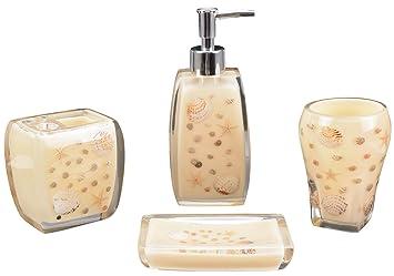 Aimone Pieces Resin Bathroom Accessories Set Complete Soap Dish