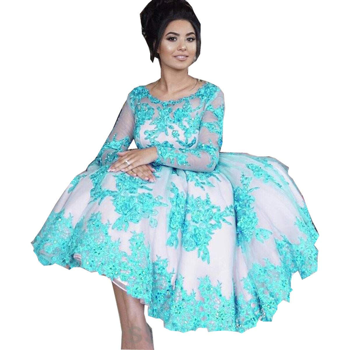 80c00e2f265 Graceprom Women s Lace Appliques Tea Length Prom Dresses Long Sleeves Party  Dresses Formal Gown Royal Blue at Amazon Women s Clothing store