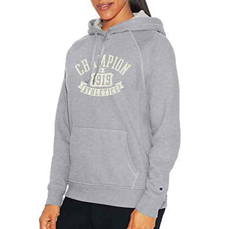 Champion Womens Heritage Fleece Pullover Hoodie, M, Oxford Grey Heather