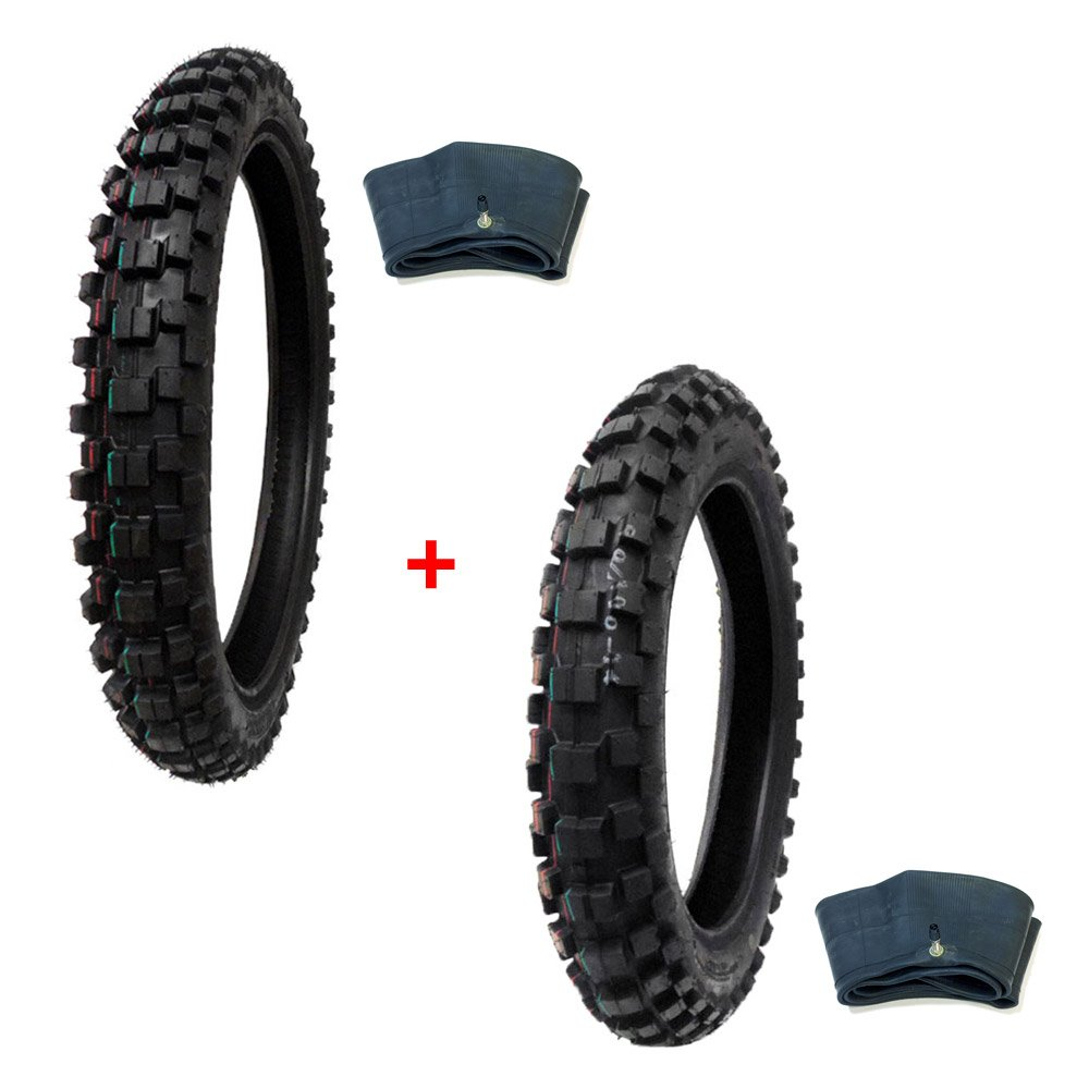 TIRE SET: Off Road Knobby Front Tire Size 70/100-17 with Inner Tube + Rear Tire Size 90/100-14 with Inner Tube MMG MGTDsi_70-100-17_90-100-14