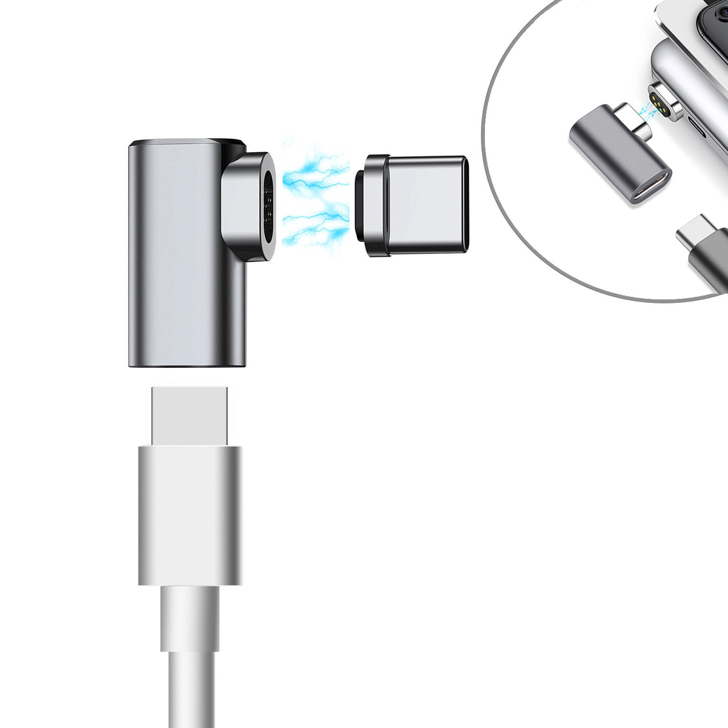 Dreamvasion Magnetic USB C Charger Adapter, 90 Degree Magnet USB Type C Fast Charging Connector Converter [Support 4.3A] for MacBook Pro/Apple Pencil/Chromebook Pixel/Samsung Galaxy S8 and More