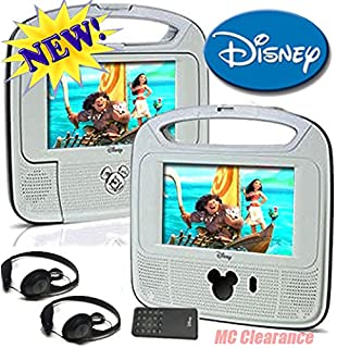 disney 7inch dual screen widescreen lcd mobile dvd player d7500pdd w remote control