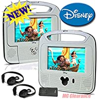 Disney 7inch Dual Screen Widescreen LCD Mobile DVD Player D7500PDD w/ Remote Control, Car Accessories and 2 Set Headphones. Plays DVDs, Audio CDs, and More