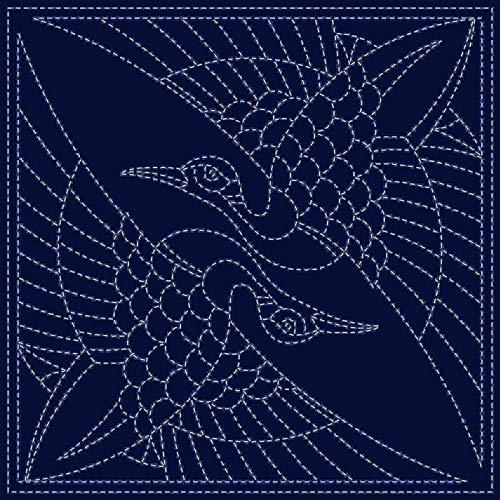 Sashiko Fabric: Two Japanese Cranes - Pre-Printed 12