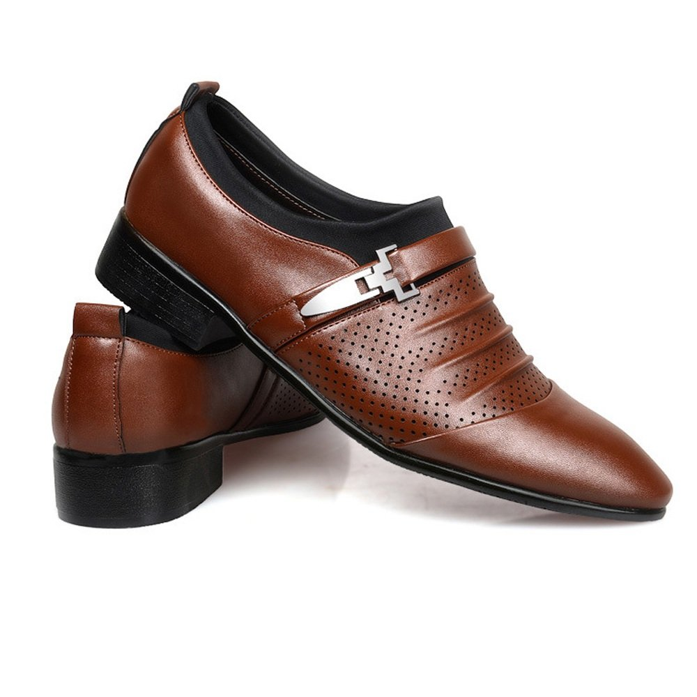 Shufang-shoes Mens Business Shoes Smooth PU Leather Splice Upper Slip-on Breathable Mesh Oxfords