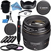Canon EF 85mm f/1.8 USM Lens 2519A003 + 58mm 3pc Filter Kit + 58mm Macro Close Up Kit + Lens Cleaning Kit + Lens Pouch + Lens Pen Cleaner + 58mm Tulip Lens Hood Bundle