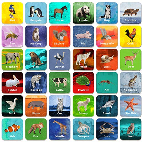 - 36 Pair Animal Matching Game Flash Cards Erasable (Each Measures 2
