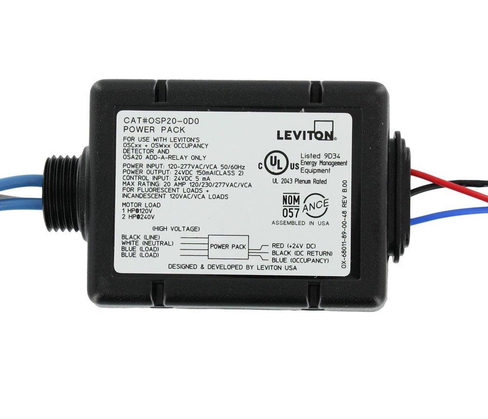 定番 Leviton osp20-da0 120 20 A蛍光灯/白熱、120 277ボルトAC/ 220// 277ボルトAC 60 Hz、1hp at 120 VAC 240 VACで、2hp、電源パックfor占有センサー、ブラック B005Y8JPZE, 御薗村:28c21765 --- a0267596.xsph.ru