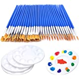 60 Pcs Flat Paint Pallet Brush with 5 PCS Round Paint Tray Palettes for Kids,Children Art Paint Brushes Nylon Hair Small Brus